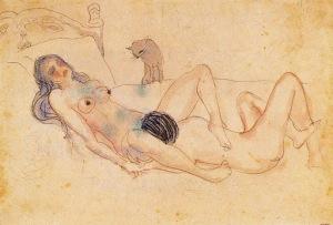Picasso - dos desnudos y un gato (1903)