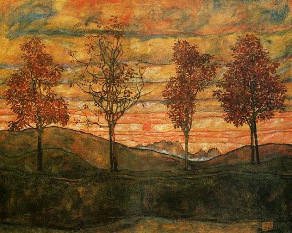 Egon Schiele - cuatro árboles (1917)