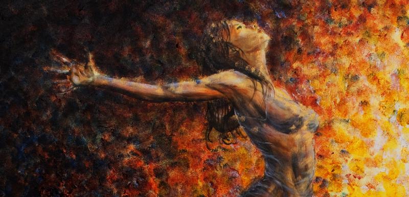 Resultado de imagen de mujer desnuda frente a lecho de hojas secas
