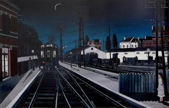 Paul Delvaux - Tren por la noche (1957)