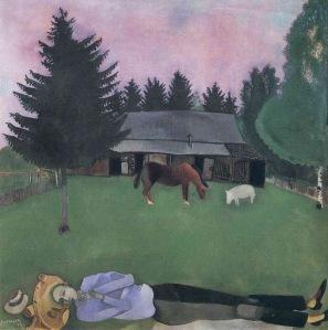 Chagall - El poeta tendido (1915)