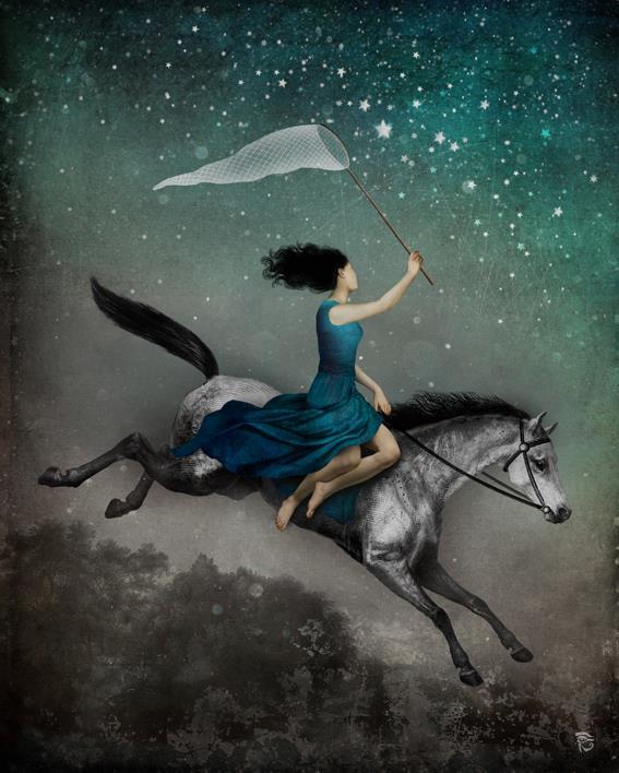 mujer volando:
