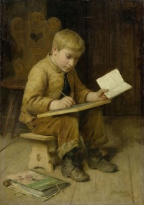 Albert Anker -  Schreibender Knabe (1883)