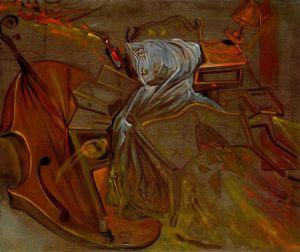 Dali - cama y dos mesillas de noche que atacan ferozmente a un violonchelo (1983)