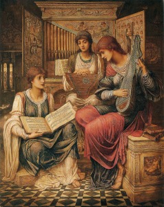 John Melhuish Strudwick - The Gentle Music of a Bygone Day (1890)