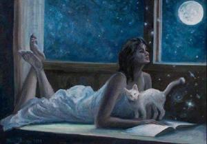 lectura con luna y gato