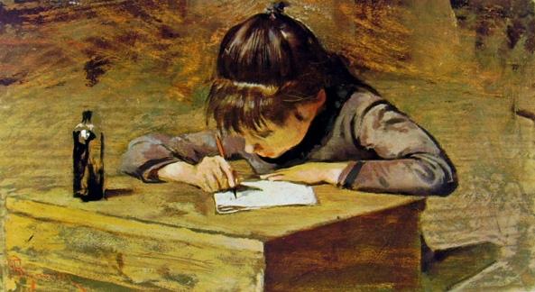 Telemaco Signorini - Bambina che scrive (1935)