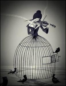 violinista con palomas