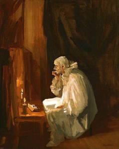 John Sloan - Payaso maquillándose (1909)