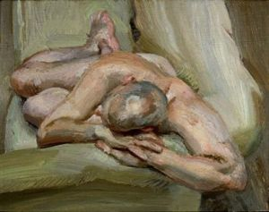 Lucien Freud -  Leigh en un sofá verde (1993)