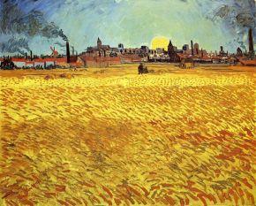 Van Gogh - Summer Evening Wheatfield with Setting Sun (1888)