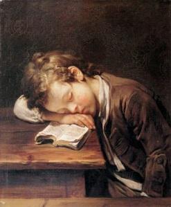 Jean Baptiste Greuze - Un alumno que duerme en su libro