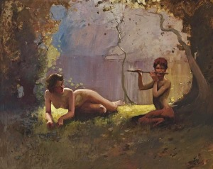 Sydney Long - Faun And Nymph (1910)