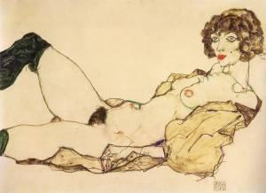 Egon Schiele - mujer reclinada con medias verdes (1917) (02)