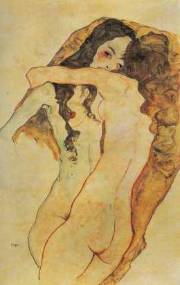 Egon Schiele - Zwei sich umarmende Frauen - (1911)