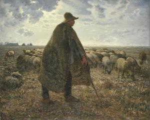 Millet - Pastor cuidando su rebaño (1865)