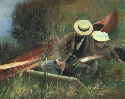John Singer Sargent - Paul Helleu dibujando con su esposa (1889)