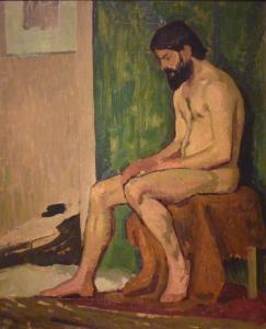 Roger de la Fresnaye - Hombre barbudo sentado (1910)