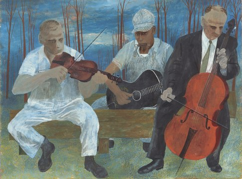 Ben Shahn - orquesta con cuatro músicos (1944)