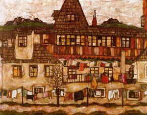 Egon Schiele - casa con ropa tendida (1917)