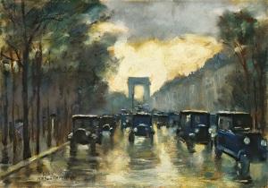Lesser Ury - Champs-Elysees mit Arc de Triomphe (1928)