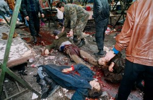 05 Feb 1994, Sarajevo, Bosnia and Herzegovina --- A bomb that exploded in Markale open-air market in the center of Sarajevo killed 68 civilians and wounded around 200 others. --- Image by © Patrick Chauvel/Sygma/Corbis