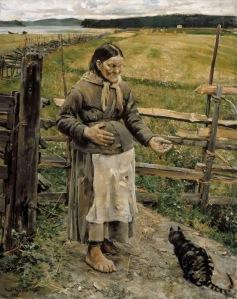 Akseli Gallen-Kallela - vieja y gato (1885)