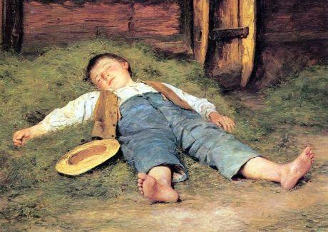 Albert Anker - Schlafender Knabe im Heu (1892)