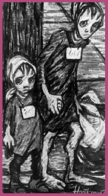Helga Weissova. Último dibujo de su serie, realizado a la salida de Terezín en 1945.