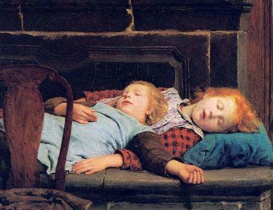 Albert Anker - Zwei schlafende Mädchen auf der Ofenbank (1895)