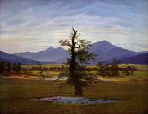 Friedrich - paisaje con árbol solitario (1822)