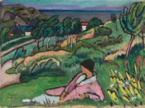 Gabriele Münter - Landschaft am Meer (1919)