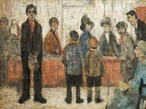 L.S. Lowry - Sala de espera de un médico (1920)