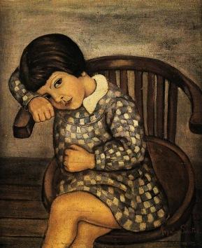 Angeles Santos - Anita con delantal de cuadros azules y blancos (1928)