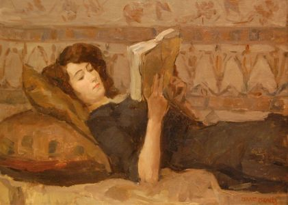 Isaac Israels - Girl reading on a divan (1920)