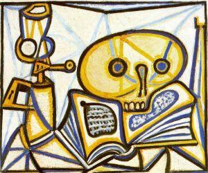 Picasso - natruraleza muerta con cráneo, libro y lámpara de petróleo (1946)