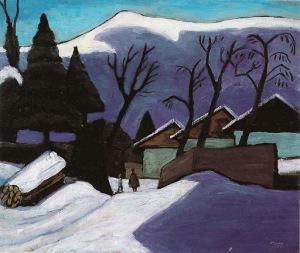 Gabriele Münter - Murnau, Häuser Im Schnee 1933