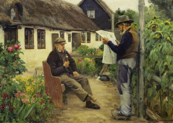 Hans Andersen Brendekilde - While reading the newspaper news (1912)