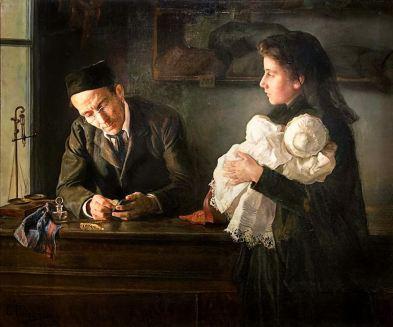 María Luisa Puiggener Sánchez - Escena del empeño de una joya (1900)