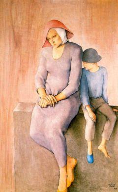 Montserrat Gudiol - Mujer con niño sobre un muro