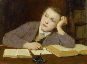 Albert Anker - schreibender knabe (1908)