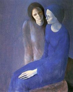 Montserrat Gudiol - Dos muchachas, una sentada y la otra detrás (1986)