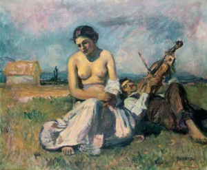 János Thorma - Fiddling Gypsy Couple