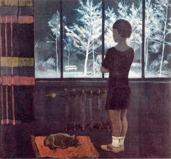 deineka-nina-en-la-ventana-invierno-1933