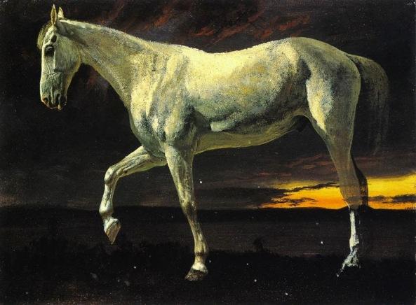 albert-bierstadt-caballo-blanco-y-puesta-de-sol-1862