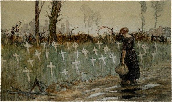 george-edmund-butler-un-cementerio-junto-a-la-carretera-cerca-de-neuve-eglise-1917