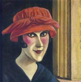 otto-dix-mujer-con-sombrero-rojo-1924